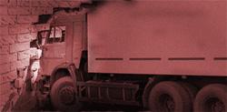 18 wheeler commercial truck crash into wall